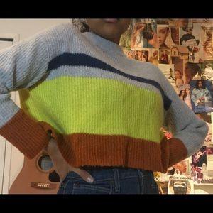 Garage Cropped Striped Knit Sweater